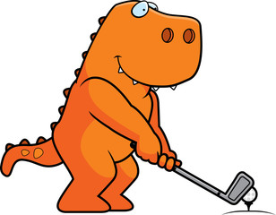 Cartoon Dinosaur Golfing