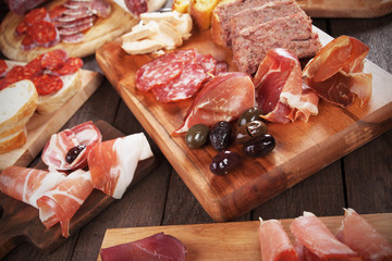 Charcuterie board with cured meat