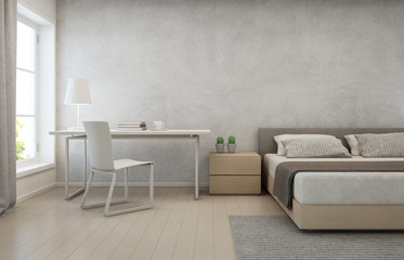 Bedroom with concrete wall background in modern house, Loft interior design of home office - 3D rendering
