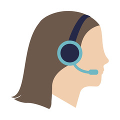 woman with headset cartoon icon over white background. colorful design. customer service concept. vector illustration
