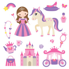Poster Vector illustration of princess, castle, carriage, pony and girl accessories set.