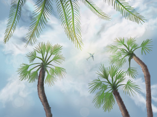Tropical holidays - view in the sky - Digital Painting