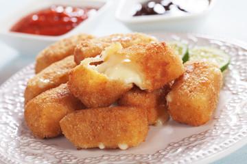 Breaded mozzarella cheese sticks