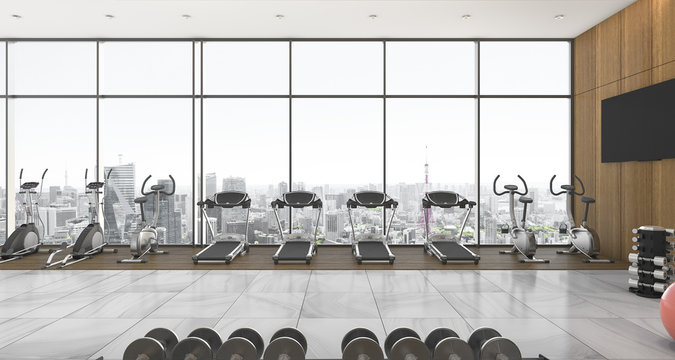 3d rendering long city view window in fitness and gym