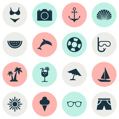 Hot Icons Set. Collection Of Melon, Bikini, Video And Other Elements. Also Includes Symbols Such As Sweets, Vitamin, Shell.