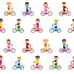 bike and kids seamless