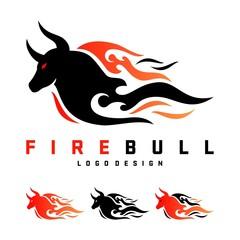 Bull Logo, Fire Bull Design Logo Vector