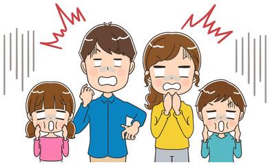 ショックを受ける家族のイラスト