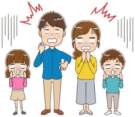 ショックを受ける家族のイラスト(全身)
