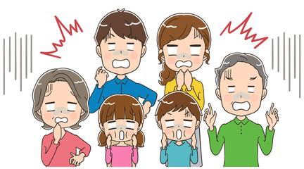ショックを受ける三世代家族のイラスト