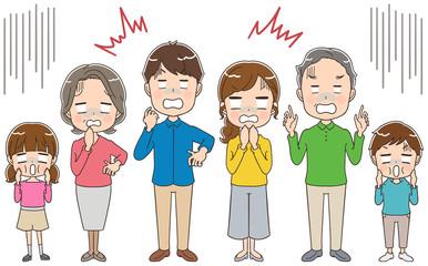 ショックを受ける三世代家族のイラスト(全身)
