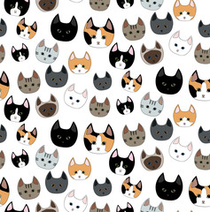 nine breeds of cats seamless pattern