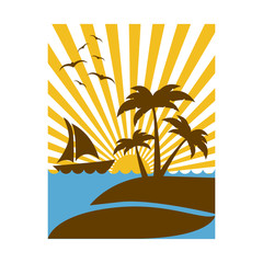 colorful rectangular background sunset with beach and boat vector illustration