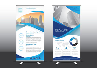 Roll Up template vector illustration, Designed for style applied to the expo. Publicity banners, business model, vertical blue  tones they use.