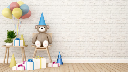 Bear with balloon and gift in kid room - 3D Rendering