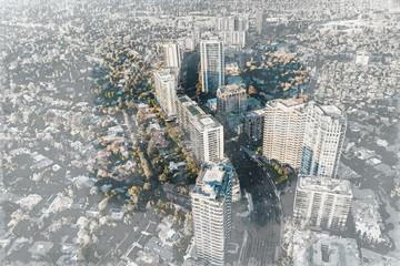 Aerial view sketch of Wilshire Blvd LA, CA