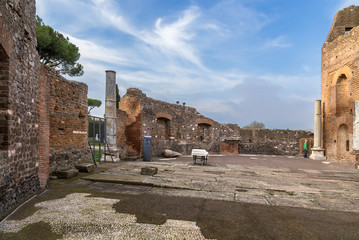 Rome, Italy. Ancient ruins of the villa Quintili, II century