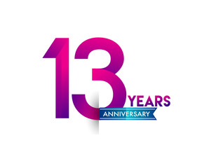 thirteen years anniversary celebration logotype colorful design with blue ribbon, 13th birthday logo on white background