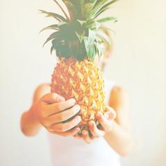 Juicy Fruit Pineapple Hands Concept Healthy Food