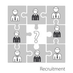 Searching professional staff. Recruitment in the form of a puzzle. Stock vector. Flat design.
