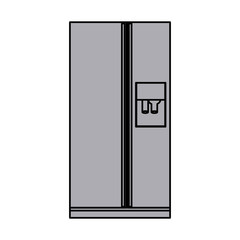 grayscale silhouette of fridge with water dispenser vector illustration