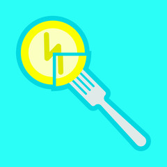 Electricity and fork, energy consumption, part of the whole,Lightning on a coin, vector image, flat design