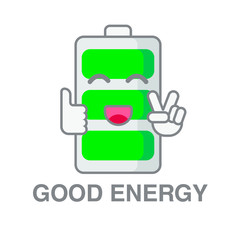 Battery with full charge smiling, funny battery, charger, vector image, flat design