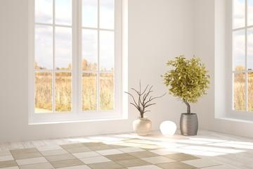 White empty room with autumn landscape in window. Scandinavian interior design. 3D illustration
