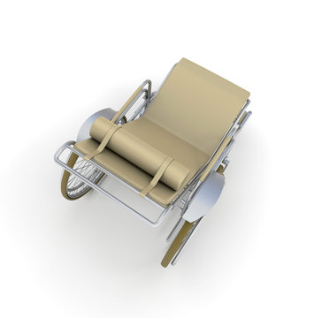 Aerial view of Beige Chaise longue wheelchair
