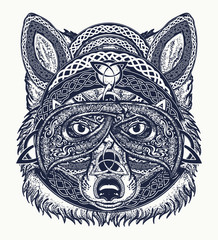 Fox tattoo art. Wolf viking in the celtic style, tattoo art. Wolf t-shirt design art animals