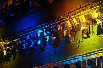 Professional stage spotlight lamps rack