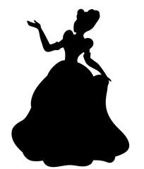 Vector, black silhouette princess illustration