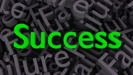 "Green word ""Success"" on the background of scattered gray words ""Failure""."