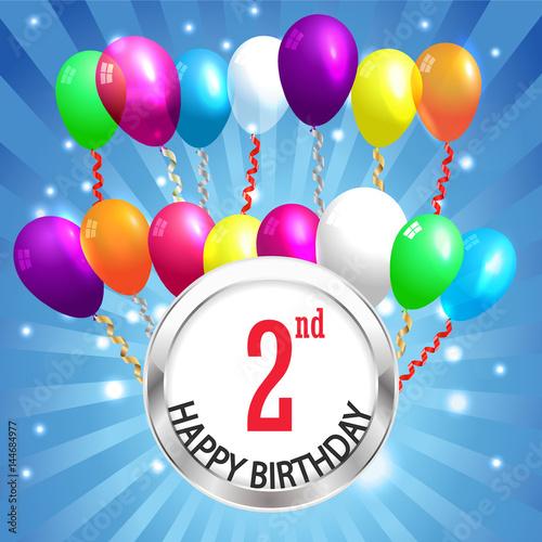 """2nd Birthday Background, 2 Years Celebration Invitation"