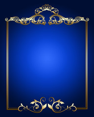 Gold vintage border ornament on blue background .