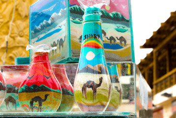 Decorative Glass Bottles with Colored Sand Inside