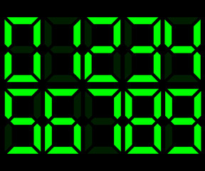 Green electronic digital numbers. Mockup for creating calculator, scoreboard, clock. Vector illustration