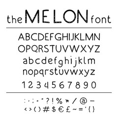 Stylish vector abc. Retro cute hand drawing font - Melon.