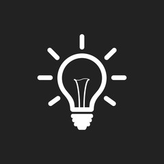 Light bulb line icon vector on black background. Idea sign, solution, thinking concept.