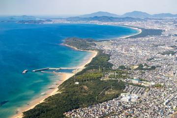 Aerial view of Hakata Bay in Fukuoka, Japan. (福岡 博多湾航空写真)