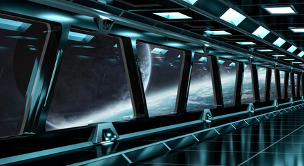 Spaceship corridor with view on distant planets system 3D rendering elements of this image furnished by NASA