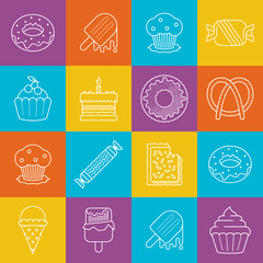 Sweets and icecream lineart minimal vector iconset on multicolor checkered texture