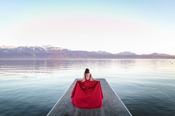 Red dress bride with mountains views