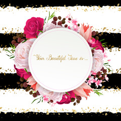 Elegance flowers frame of color roses and tulips. Composition with blossom flowers branches and lettering with round banner on the striped background.