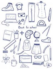 Set of hand drawn vector school doodles.