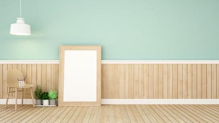 living area in green room-3D Rendering