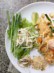 Fried noodle Thai style with prawns, Stir fry noodles with shrimp in Pad Thai , Thai noodle style, Traditional food.