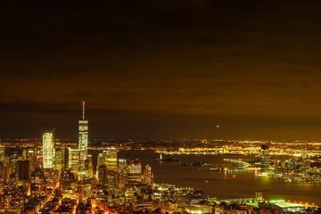 Manhattan night skyline, New York, USA
