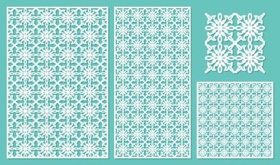 Set decorative panels laser cut. National ethnic pattern. The ratio 2:3, 1:2, 1:1, seamless. Vector illustration.