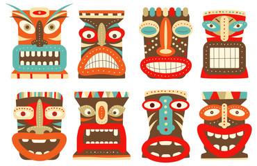 Set of tiki tribal mask